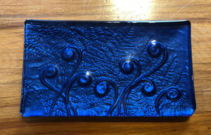 Blue Koru Fern NZ Glass Trinket Tray Southland New Zealand