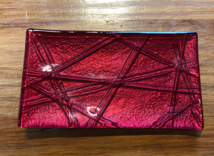 Red Rope  Glass Trinket Tray Southland New Zealand