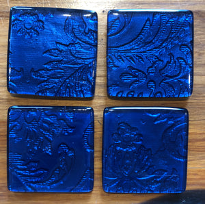 Blue Floral Coasters - Set of 4