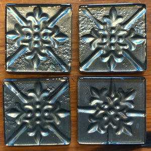 Grey Pressed Tin Coasters - Set of 4