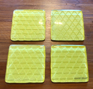 Yellow geometric printed glass coasters new zealand