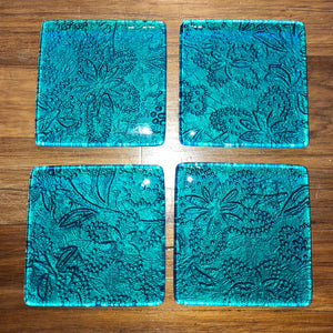 Turquoise Floral printed glass coasters new zealand