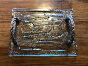 Clear Glass cutlery print tray serveware platter with rope handles