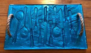 Turquoise Blue cutlery large glass print tray serveware platter with rope handles