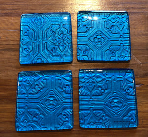 Turquoise Pressed tin printed glass coasters new zealand