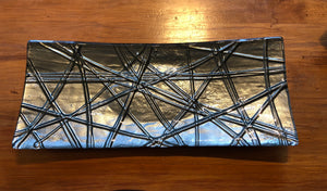 Gunmetal grey rope Blue Long Sushi platter glass tray serveware made in NZ New Zealand