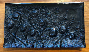 Black Koru Fern Glass Trinket Tray Southland New Zealand