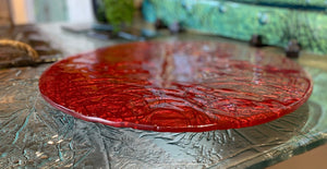 Lazy Susan - Red - Glass platter