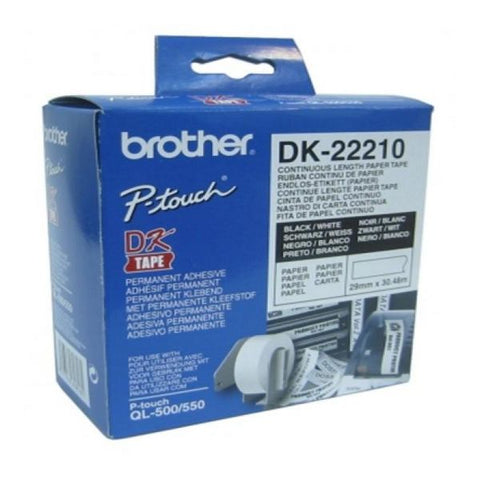 Carta Continua per Stampanti Brother DK22210 29 x 30,48 mm Bianco