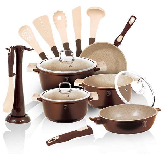 Berlinger Haus Granit Diamond Line 15-Piece Marble Coating Cookware Set