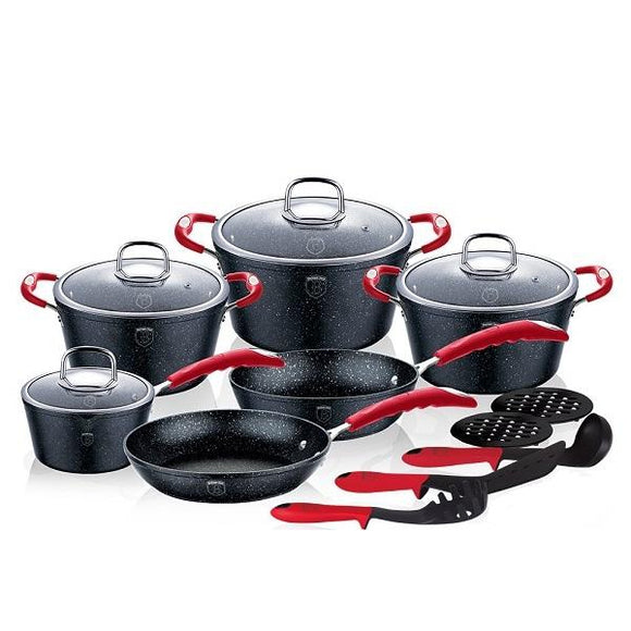 Berlinger Haus 15-Piece Marble Coating Oven Safe Cookware Set - Stone Touch Line