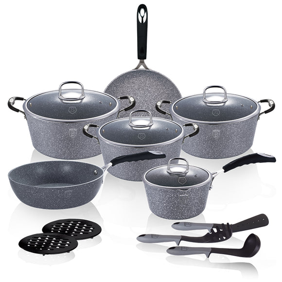 Berlinger Haus Stone Touch Line 15-Piece Marble Coating Cookware Set