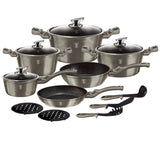 Berlinger Haus 15-Piece Marble Coating Cookware Set Carbon Metallic