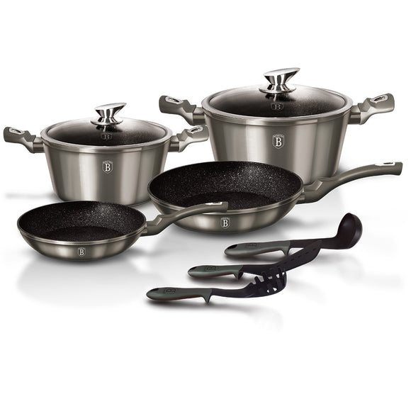 Berlinger Haus 9-Piece Marble Coating Cookware Set Carbon Metallic