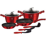 Berlinger Haus 9-Piece Marble Coating Cookware Set - Burgundy Metallic