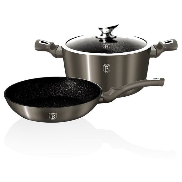 Berlinger Haus 3-Piece Marble Coating Cookware Carbon Metallic