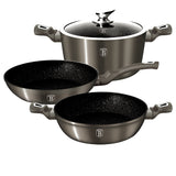 Berlinger Haus 4-Piece Marble Coating Cookware Set Carbon Metallic