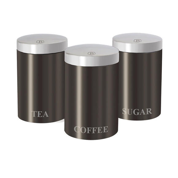 Berlinger Haus 3-Piece Canister Set Carbon Metallic Line