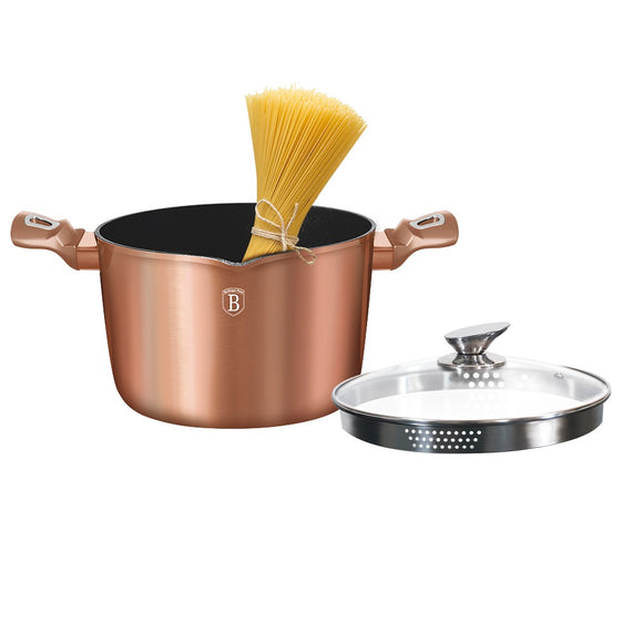 Berlinger Haus 24cm Marble Coating Pasta & Rice Pot - Rose Gold