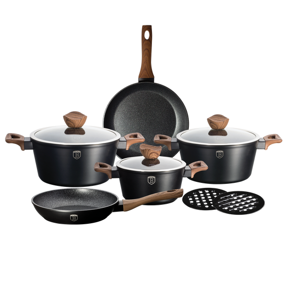 Berlinger Haus Ebony Rosewood 10-Piece Marble Coating Cookware set