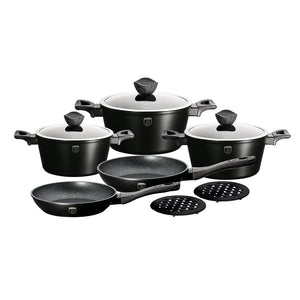Berlinger Haus 10-Piece Marble Coating Cookware Set - Ebony Smoked Wood