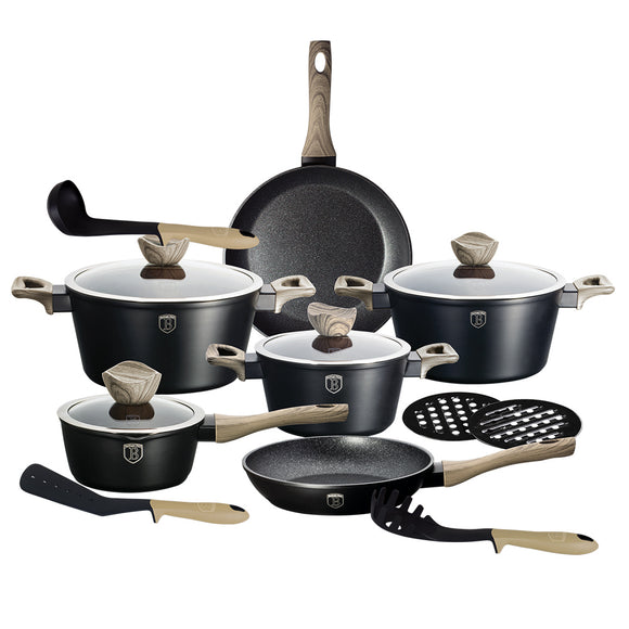 Berlinger Haus Ebony Maple 10-Piece Marble Coating Cookware Set