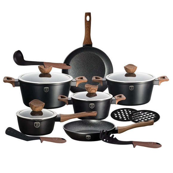 Berlinger Haus Ebony Rosewood 15-Piece Marble Coating Cookware set