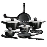Berlinger Haus 15-Piece Marble Coating Cookware Set - Ebony Smoked Wood