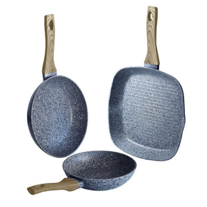 Berlinger Haus Light Wood 3-Piece Marble Coating Fry & Grill Pan Set