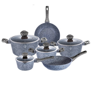 Berlinger Haus Smoked Wood 10-Piece Marble Coating Cookware Set