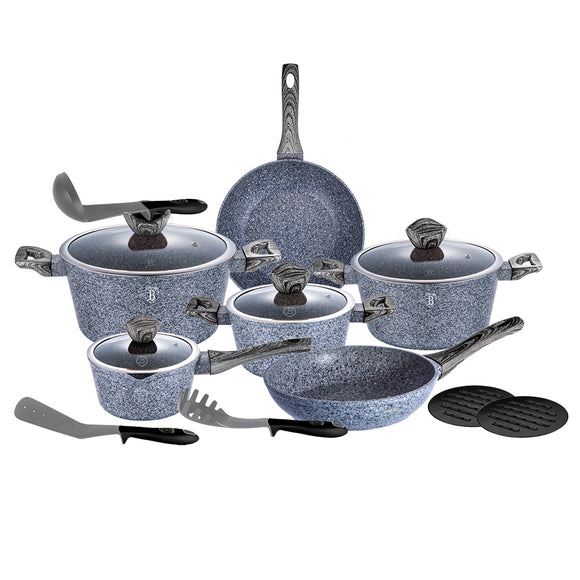Berlinger Haus Smoked Wood 15-Piece Marble Coating Cookware Set