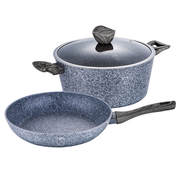 Berlinger Haus Smoked Wood 3-Piece Marble Coating Cookware Set