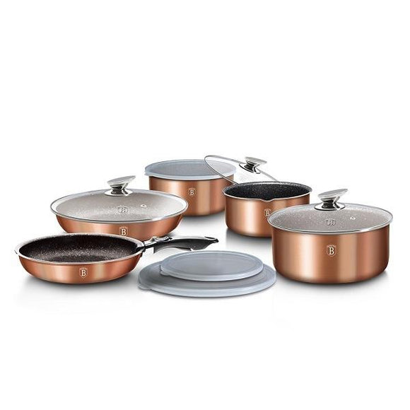 Berlinger Haus 12-Piece Marble Coating Cookware Set - Rose Gold