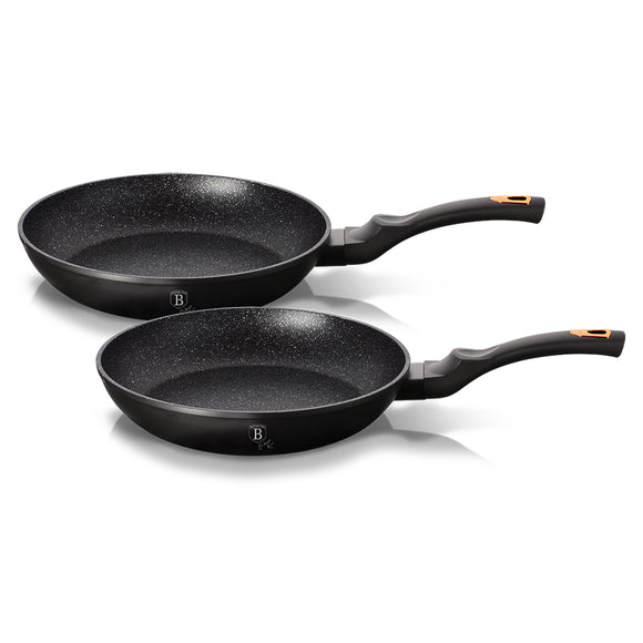Berlinger Haus 2-Piece Marble Coating Frypan Set Black Rose