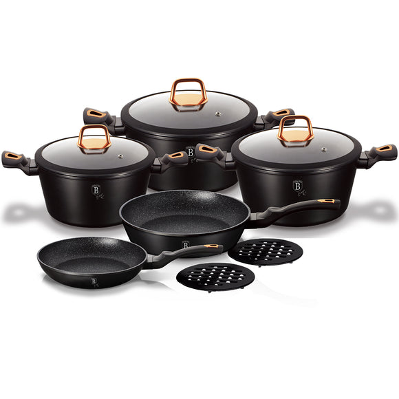 Berlinger Haus 10-Piece Marble Coating Cookware Set Black Rose