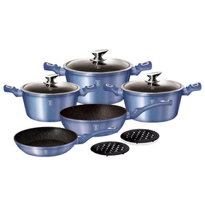 Berlinger Haus 10-Piece Marble Coating Cookware set Royal Blue