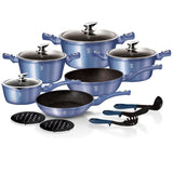 Berlinger Haus 15-Piece Marble Coating Cookware set Royal Blue