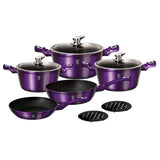 Berlinger Haus 10-Piece Marble Coating Cookware Set Royal Purple