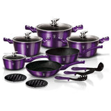 Berlinger Haus 15-Piece Marble Coating Cookware Set Royal Purple