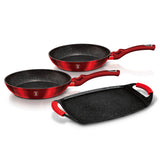 Berlinger Haus Marble Coating 3-Piece Frypan And Grill Plat Set - Burgundy Metallic