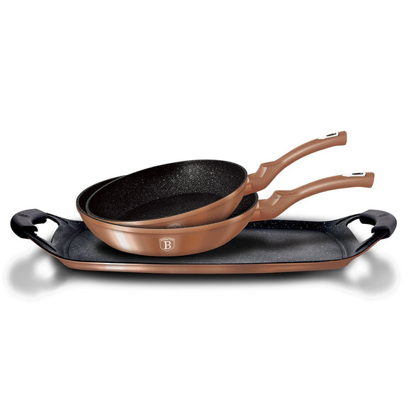 Berlinger Haus 5-Piece Marble Coating Frypan & Grill Plate Set - Rose Gold
