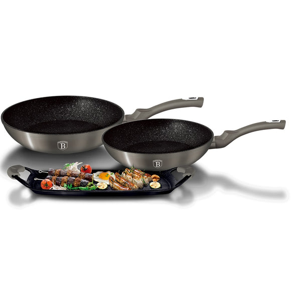 Berlinger Haus 5-Piece Marble Coating Frypan and Grill Plate Set Carbon Metallic