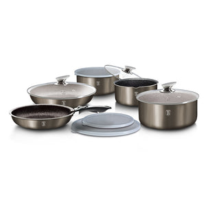 Berlinger Haus 12-Piece Marble Coating Cookware Set Carbon Metallic