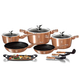 Berlinger Haus 14-Piece Marble Coating Cookware Set - Rose Gold