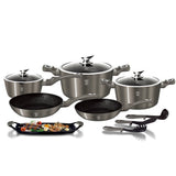 Berlinger Haus 14-Piece Marble Coating Cookware Set Carbon Metallic
