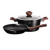 Berlinger Haus Ebony Rosewood 3-Piece Marble Coating Cookware Set