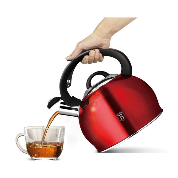 Berlinger Haus 3L Stainless Steel Whistling Kettle - Burgundy Metallic