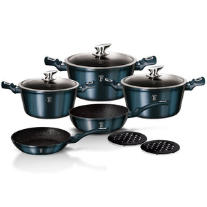 Berlinger Haus 10-Piece Marble Coating Cookware Set - Aquamarine Edition