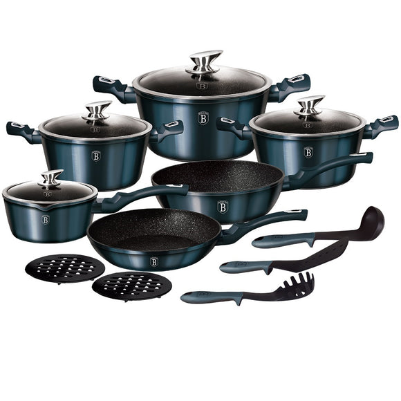 Berlinger Haus 15-Piece Marble Coating Cookware Set - Aquamarine Edition