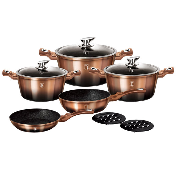 Berlinger Haus 10-Piece Marble Coating Cookware Set - Rose Gold